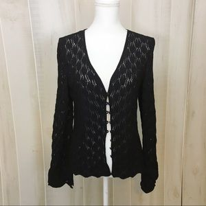 St. John Collection Black Lacey Button Sweater